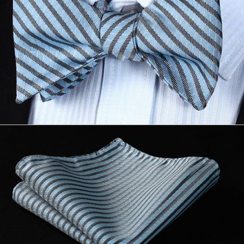 BS602BS Blue Gray Stripe Bowtie Men Silk Self Bow Tie handkerchief set Wedding Pocket Square