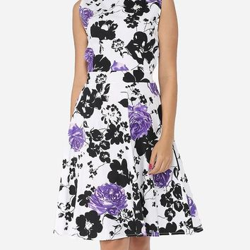 Casual Floral Printed Exquisite Round Neck Skater-dress