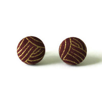 Abstract Gold Lines Dark Red Maroon Fabric Covered Button Earrings