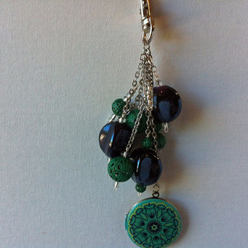 Emerald Green Locket Purse Accessory, Dark Purple And Green Key Fob To Personalize Your Bag