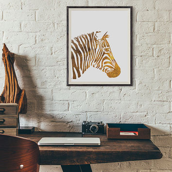 Zebra gold foil safari animals, Fashion Art, home Decor, Printable Art, Vanity Decor, French Wall Art, Poster, Instant Download, Affiche