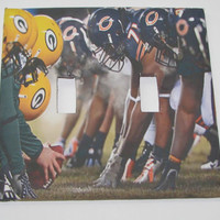 Double Light Switch Cover - Light Switch Plate Green Bay Packers Chicago Bears Football