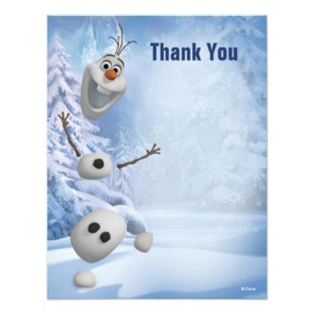 Frozen Olaf Thank You 4.25x5.5 Paper Invitation Card