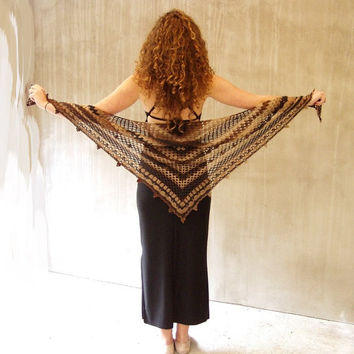 Coffee crochet shawl, brown crochet shawl, crochet shawlette, crochet shawl wrap, triangular shawl, brown shades shawl, crochet wool shawl
