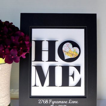 New Home Address Art - New Home Gift - Map Art - Anniversary Gift - 3D Art - New House Personalized Art - Unique Wedding Gift