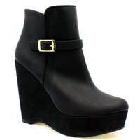 "Stella McCartney ""300102"" Black Wedge Ankle Boot 