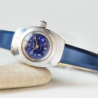 Vintage amphibian women watch Zaria Dawn, water resistant lady watch very rare, lady's diver watch navy blue gift, new luxury leather strap