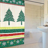 Santa's Naughty and Nice Christmas Fabric Shower Curtain - Tannenbaum