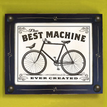 Bike Art Print Best Machine Ever Created Black and White by DexMex