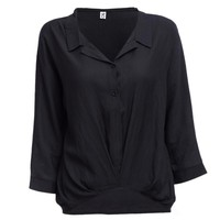 V-neck Long Sleeve Pure Color Loose Women Blouse