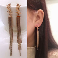 YSL New fashion long tassel earrings female
