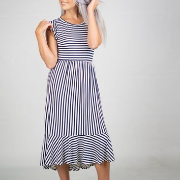 Navy and White Striped Dress (S-XL)