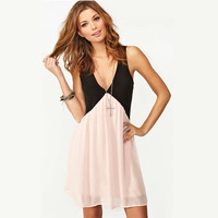 Black and Pink V-Neck Sleeveless Chiffon Mini Dress
