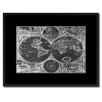 World Hemispheres Vintage Monochrome Map Canvas Print, Gifts Picture Frames Home Decor Wall Art