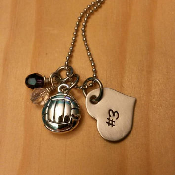 Hand Stamped Volleyball Necklace - Girls Volleyball - Volleyball Team Gift - Team Colors