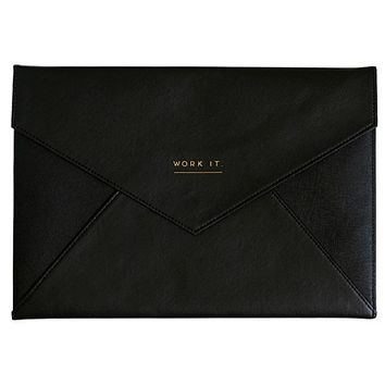 Work It A4 Document Wallet in Black and Gold