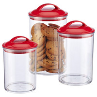 Color Pop Acrylic Canisters with Red Lids