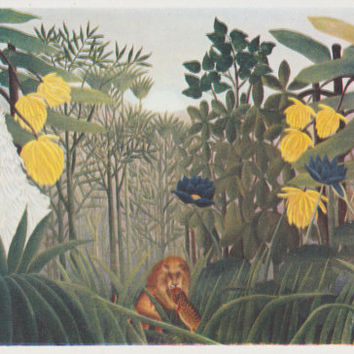 "Vintage US Postcard -- Henri Rousseau ""The Repast of the Lion"" -- 1970?"