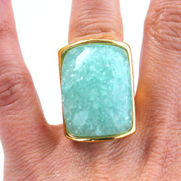 Mint Stone  Ring -  Statement Ring - Mint  Cocktail Ring - Bridesmaid gift  by Tiny Box