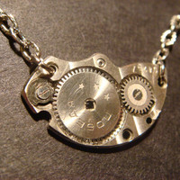 Steampunk Watch Plate Gear with Stars Necklace (351)