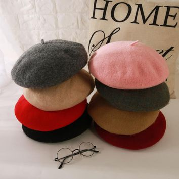 Women Soft Solid Candy Color Wool Berets Caps Female Girls Fashion Winter Warm Comfortable Felt Berets Hats Casquette Gorros