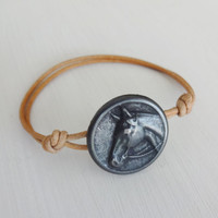 Horse Bracelet, Antique Silver, Genuine Leather Cord, Leather Bracelet, Many Cord Colors Available