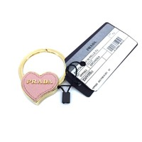 Prada Orchidea Pink Saffiano Leather Heart Gold Tone Metal Key Chain Bag Charm 1PP063