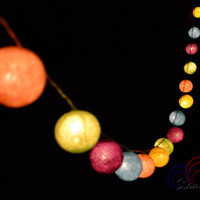 Colorful Light Bedroom Decorate Garland Christmas Light Cotton Balls Hanging Fairy Lights Patio Holiday (20 Lights/Set)