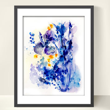 Abstract Flowers Watercolor Painting Art Print - Abstract Art - Floral Blue - Modern Painting - Watercolor Painting - Wall Ar