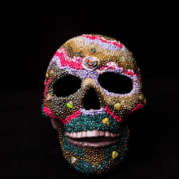 Beaded Sugar Skull Lamp, Day of the Dead Skull, Gothic Skull, Mosaic Sugar Skull, Home Decor, Halloween Skull
