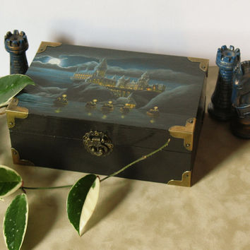 Hogwarts at Night Jewelry or Keepsake Box by TheSilverDoe on Etsy