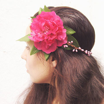 Pink Flower Crown, Floral Crown, Peony Circlet, Pip Berry Halo, Summer Festival Hair Accessories, Woodland, Hippie, Bohemian