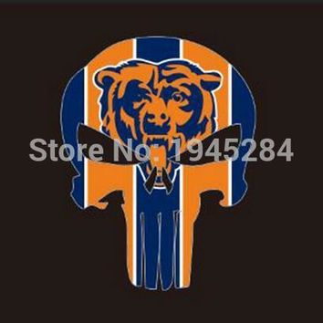 NFL Chicago Bears Skull Flag Banner New 3x5ft 90x150cm Polyester 9835, free shipping
