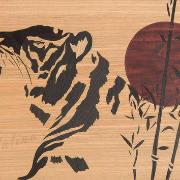 Original individual Wooden Tiger japanese style art marquetry inlay handmade home decor picture woodworking by Andulino