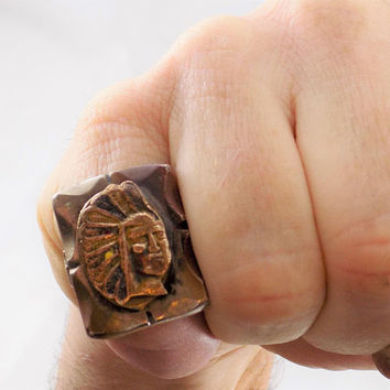 Mexican Biker Ring, Indian Chief, Mixed Metals, Size 7 1/2, Vintage Rings