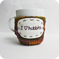 Hobbit funny coffee cozy mug cozy tea cup crochet handmade cover