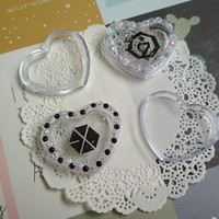 Tiny boxes kpop, Exo, GOT7, mini clear plastic box, heart shape plastic box, plastic jewelry box, kawaii