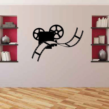 Movie Projector and Film Strip Silhouette Vinyl Wall Decal Sticker