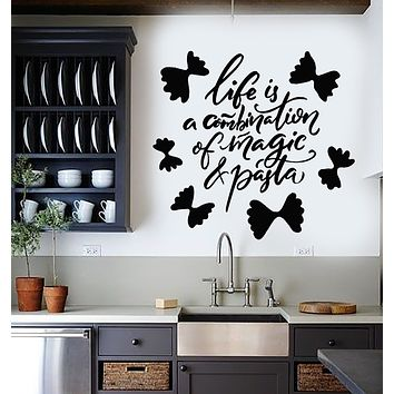 Vinyl Wall Decal Pasta Italian Restaurant Kitchen Quote Words Stickers Mural (g2931)