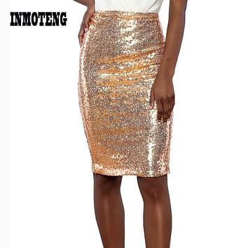 2019 New Fashion Women Champagne Glitter Me Crushed Green Sequin Zipper Package Hip Slim Pencil Midi Pencil Skirt Party Wear