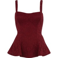 Dark purple lace cami peplum top - peplum tops - tops - women