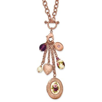 Rose-tone Simulated Pearl Crystal Charm and Locket Toggle Necklace