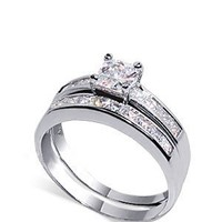 tdrsz1030 Sterling Silver Princess cut Clear CZ Engagement Ring Set