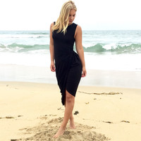 Side View Jersey Dress In Black
