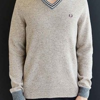Fred Perry Fleck Knit Tennis V-Neck Sweater- Ivory