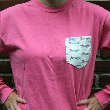 The Limited Edition Longshanks Unisex Long Sleeve Tee Shirt in Watermelon Pink by the Frat Collection
