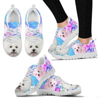 Bichon Frise Print Sneakers For Women- Free Shipping