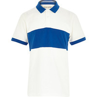 River Island Boys white contrast panel polo t-shirt