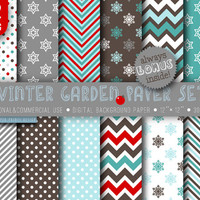 12 Winter Garden Paper Digital, 12 x 12, brown blue red white paper, winter digital paper, party invitations cards, snowflakes chevron