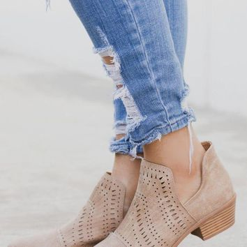 Weekend Taupe Tribal Cutout Bootie